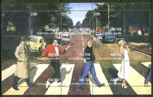 Abkhazia 1999 Fab 4 - Elvis, Marilyn, James Dean & Bogart Crossing Abbey Road (with VW & Police Van) composite sheet containing 9 values unmounted mint, stamps on films    entertainments    elvis    marilyn monroe, stamps on  vw , stamps on cinema      music     police
