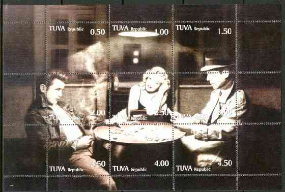 Touva 199? High Stakes (Marilyn, James Dean & Bogart Playing Cards) composite sheet containing 9 values unmounted mint