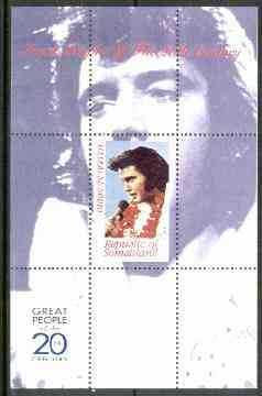 Somaliland 1999 Great People of the 20th Century - Elvis Presley perf souvenir sheet unmounted mint