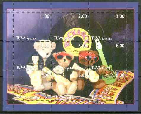 Touva 1999 Rock & Roll Teddies composite sheet containing 9 values unmounted mint