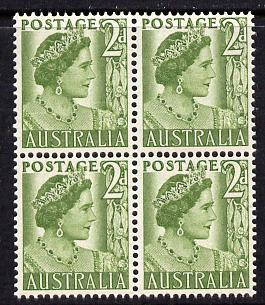 Australia 1950-52 Queen Elizabeth 2d coil block of 4 unmounted mint SG 237b