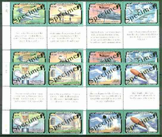 Montserrat 1995 50th Anniversary of end of World War II, two sets of 8 (4 se-tenant gutter blocks of 4) each overprinted SPECIMEN, extremely scarce thus as SG 967-74s unmounted mint