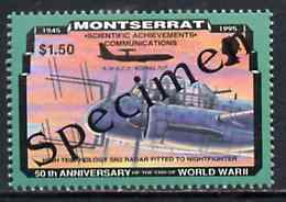 Montserrat 1995 Radar-Equipped JU88G $1.50 (from 50th Anniversary of end of World War II set) overprinted SPECIMEN unmounted mint, as SG 971s