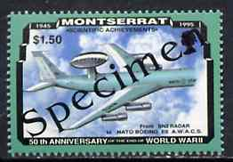Montserrat 1995 Boeing AWAC $1.50 (from 50th Anniversary of end of World War II set) overprinted SPECIMEN, as SG 972s unmounted mint