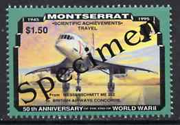 Montserrat 1995 Concorde $1.50 (from 50th Anniversary of end of World War II set) overprinted SPECIMEN, as SG 974s unmounted mint