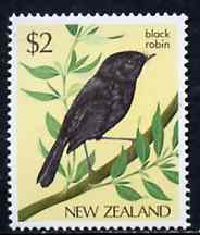 New Zealand 1982-89 Black Robin $2 from Native Birds def set unmounted mint, SG 1293*, stamps on birds, stamps on robin