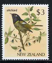 New Zealand 1982-89 Stitchbird $3 from Native Birds def set unmounted mint, SG 1294*