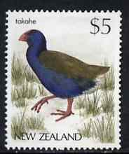 New Zealand 1982-89 Takahe $5 from Native Birds def set unmounted mint, SG 1296*, stamps on birds, stamps on takahe