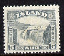 Iceland 1931 Gullfoss Falls 5a grey unmounted mint (SG 195)
