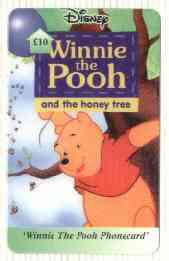Telephone Card - Winnie the Pooh �10 'phone card #04 showing Pooh standing by Tree with Bees