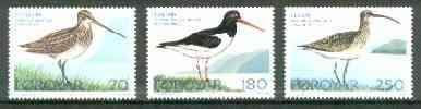 Faroe Islands 1977 Birds (Snipe, Oystercatcher & Whimbrel) set of 3 unmounted mint, SG 27-29*