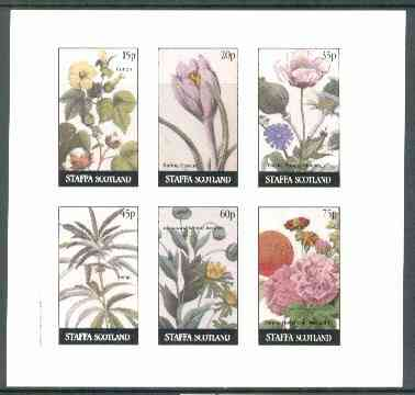 Staffa 1982 Flowers #23 (Cotton, Crocus, Hemp, etc) imperf set of 6 values (15p to 75p) unmounted mint