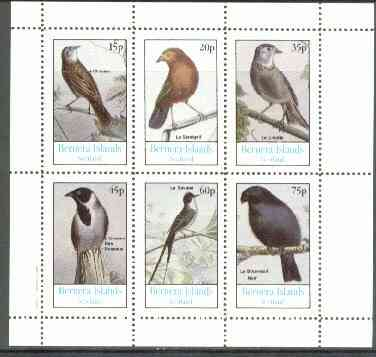 Bernera 1982 Birds #16 (Names in French #01) perf  set of 6 values (15p & 75p) unmounted mint