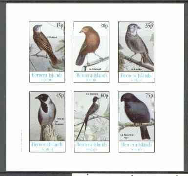 Bernera 1982 Birds #16 (Names in French #01) imperf  set of 6 values (15p & 75p) unmounted mint
