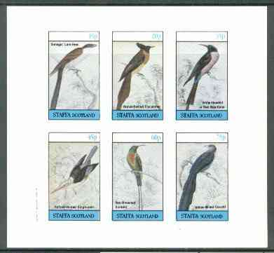 Staffa 1982 Birds #54 (Sunbird, Bee Eater, etc) imperf set of 6 values (15p to 75p) unmounted mint