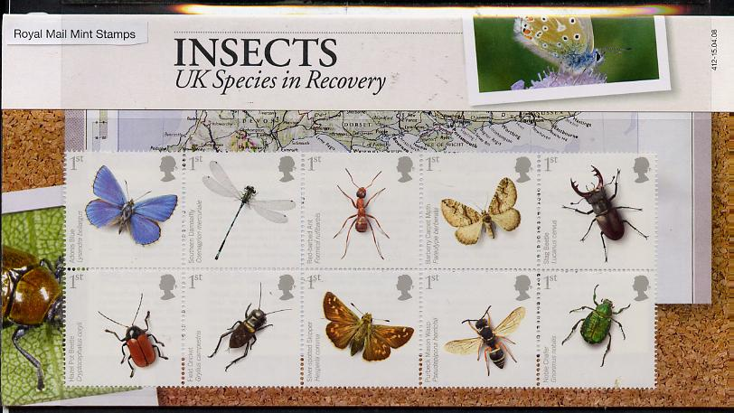 Great Britain 2008 Action for Species #2 - Insects perf se-tenant block of 10 in official presentation pack SG 2831-40