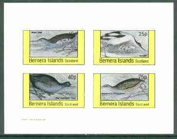 Bernera 1982 Birds #33 (Rail, Avoset, Coot & Corn Crake) imperf set of 4 values (10p to 75p) unmounted mint