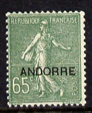 Andorra - French 1931 overprint on French Sower 65c unmounted mint SG F 14
