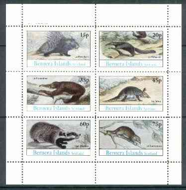 Bernera 1982 Animals (Badger, Porcupine etc) perf set of 6 (15p to 75p) unmounted mint