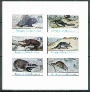 Bernera 1982 Animals (Badger, Porcupine etc) imperf set of 6 (15p to 75p) unmounted mint