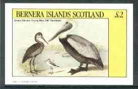 Bernera 1982 Birds #40 (Pelican & Sandpiper) imperf deluxe sheet (�2 value) unmounted mint