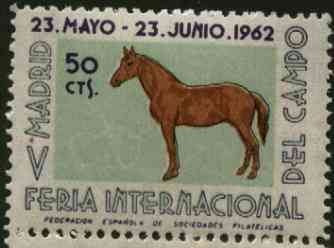 Cinderella - Spain 1962 50c perforated label for Madrid International Stamp Exhibition featuring Horse unmounted mint*