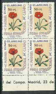 Cinderella - Spain 1962 50c perforated label for Madrid International Stamp Exhibition featuring Poppy, marginal block of 4 showing one stamp with centre of flower omitted (R3/6)