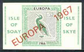 Isle of Soay 1967 Europa overprinted on 1966 Europa (Cormorant) 5s value, imperf on ungummed paper