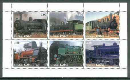 Komi Republic 1999 Steam Locos #1 perf sheetlet containing complete set of 6 values unmounted mint, stamps on railways