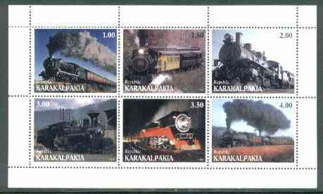 Karakalpakia Republic 1999 Steam Locos perf sheetlet containing complete set of 6 values unmounted mint