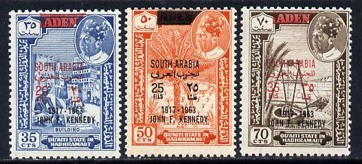 Aden - Quaiti 1966 Kennedy set of 3 with black opts unmounted mint (Mi 68-70sA)*