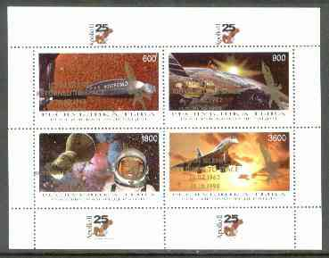 Touva 1998 John Glenn Returned opt in gold on 25th Anniversary of Apollo 11 (Space achievements incl Concorde) sheetlet containing 4 values unmounted mint