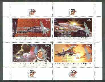 Touva 1998 John Glenn Returned opt in silver on 25th Anniversary of Apollo 11 (Space achievements incl Concorde) sheetlet containing 4 values unmounted mint