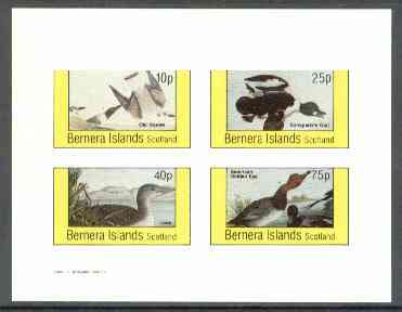 Bernera 1982 Ducks (Old Sqaw, Loon, etc) imperf sheetlet containing set of 4 unmounted mint