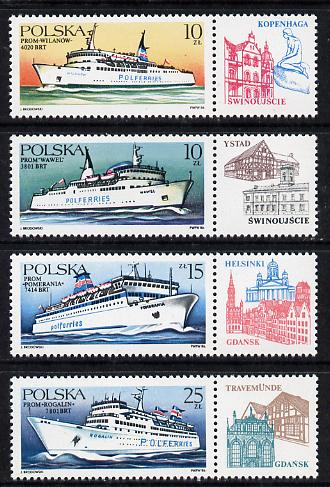 Poland 1986 Ferry Ships set of 4 unmounted mint (each with label) (SG 3042-45)