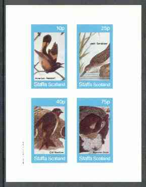 Staffa 1982 Birds #57 (Redstart, Sandpiper, etc) imperf set of 4 values (10p to 75p) unmounted mint