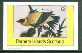 Bernera 1982 Yellow Warbler imperf deluxe sheet (�2 value) unmounted mint