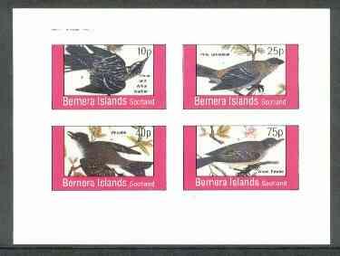 Bernera 1982 Birds #25 (Warbler, Phoebe, etc) imperf  set of 4 values (10p to 75p) unmounted mint