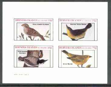 Bernera 1982 Birds #27 (Grosbeak, Warblers, etc) imperf  set of 4 values (10p to 75p) unmounted mint