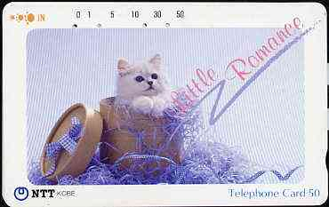Telephone Card - Japan 50 units phone card showing Kitten in Hat Box titled 'Little Romance' (card dated 19.3.1990)
