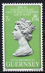 Guernsey 1978 Royal Visit 7p unmounted mint, SG 168