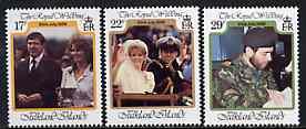 Falkland Islands 1986 Royal Wedding set of 3 unmounted mint, SG 536-38