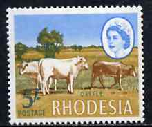 Rhodesia 1966-69 Cattle 5s (Litho printing) from def set unmounted mint, SG 405
