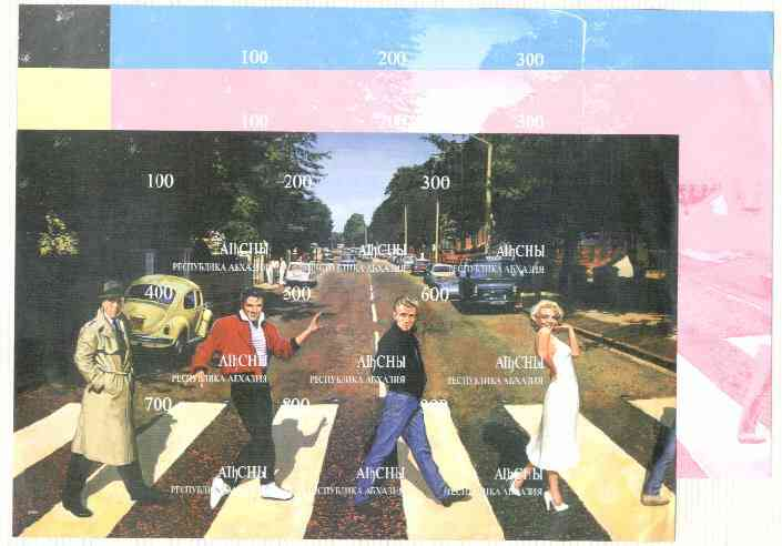Abkhazia 1999 Fab 4 - Elvis, Marilyn, James Dean & Bogart Crossing Abbey Road (with VW & Police Van)  composite sheet containing 9 values, the set of 5 imperf progressive..., stamps on films    entertainments    elvis    marilyn monroe, stamps on  vw , stamps on cinema      music     police