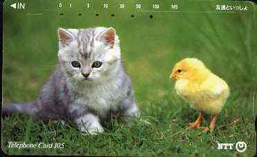 Telephone Card - Japan 105 units phone card showing Kitten with chick (card 111-062)