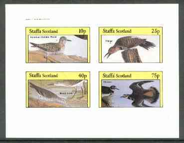 Staffa 1982 Birds #59 (Plover, Flicker, etc) imperf set of 4 values (10p to 75p) unmounted mint