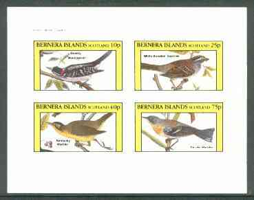 Bernera 1982 Birds #28 (Woodpecker, Sparrow & Warblers) imperf  set of 4 values (10p to 75p) unmounted mint , stamps on , stamps on  stamps on birds