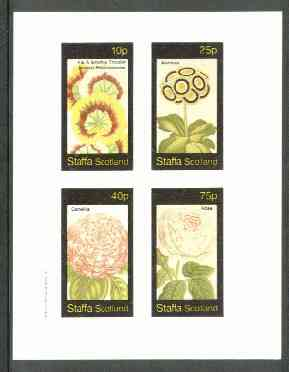 Staffa 1982 Flowers #25 (Pelarconiums, Auricula, Camellia & Rose) imperf set of 4 values unmounted mint