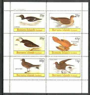 Bernera 1982 Birds #31 (Guillemot Skua, Puffin, etc) perf  set of 6 values (15p & 75p) unmounted mint
