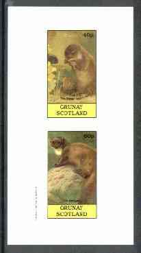 Grunay 1982 Mammals (Water Vole & Weasel, incorrectly inscribed Badger) imperf set of 2 unmounted mint